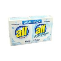 All Free Clear Dual Pack 1 load detergent/sheet