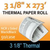 "NCR Thermal 2 Sided Paper - 3 1/8"" x 273'  Black/Black"