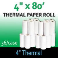 "Thermal Paper Roll - 4"" x 80' (For Zebra)"