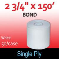 "Single Ply White Bond Roll - 2 3/4"" x 150'"