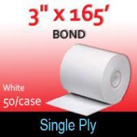 "Single Ply White Bond Roll - 3"" x 165'"