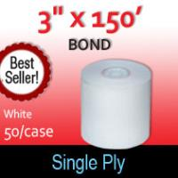 "Single Ply White Bond Roll - 3"" x 150'"