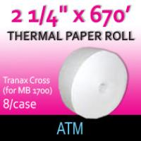 "Tranax Cross Paper - 2 1/4"" x  670' (for MB 1700)"