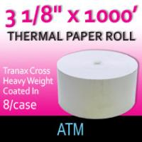 "Tranax Cross Paper - 3 1/8"" x 1000'-Hvy Wght/Coated In"