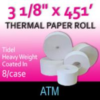 "Tidel Thermal Paper - 3 1/8"" x 451' (Hvy Wght/Coated In)"