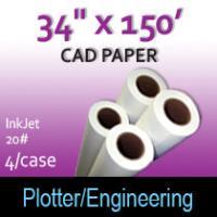 "CAD Paper- InkJet- 34"" x 150' 20# (4 Rolls)"