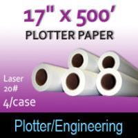 """Plotter Paper- Laser -17"""" x 500' 20# (4 Rolls)"""