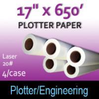 """Plotter Paper- Laser -17"""" x 650 20# (4 Rolls)"""