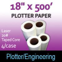 "Plotter Paper- Laser -18"" x 500' 20# - Taped Core"