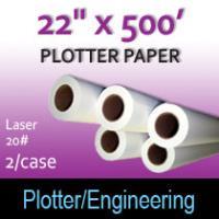 """Plotter Paper- Laser -22"""" x 500' 20# (2 Rolls)"""