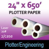 """Plotter Paper- Laser -24"""" x 650' 20# (2 Rolls)"""