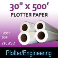 """Plotter Paper- Laser -30"""" x 500' 20# (2 Rolls)"""