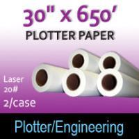 """Plotter Paper- Laser -30"""" x 650' 20# (2 Rolls)"""