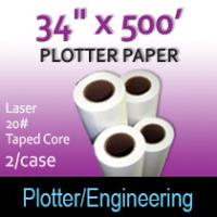 "Plotter Paper- Laser -34"" x 500' 20# - Taped Core"