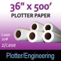 """Plotter Paper- Laser -36"""" x 500' 20# (2 Rolls)"""