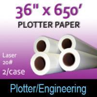 """Plotter Paper- Laser -36"""" x 650' 20# (2 Rolls)"""