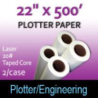 "Plotter Paper- Laser -22"" x 500' 20# - Taped Core"
