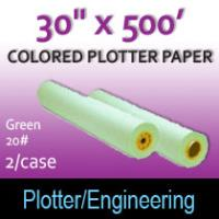 "Colored Plotter Paper - 30"" x 500' 20# Green (2 Rolls)"