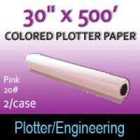 "Colored Plotter Paper - 30"" x 500' 20# Pink (2 Rolls)"