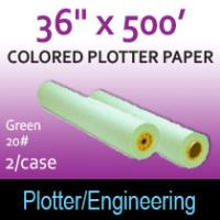 "Colored Plotter Paper - 36"" x 500' 20# Green (2 Rolls)"