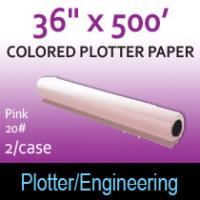"Colored Plotter Paper - 36"" x 500' 20# Pink (2 Rolls)"