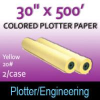 "Colored Plotter Paper - 30"" x 500' 20# Yellow (2 Rolls)"