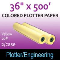 "Colored Plotter Paper - 36"" x 500' 20# Yellow (2 Rolls)"