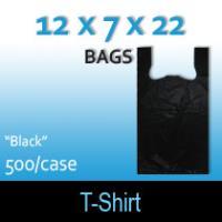 """T-Shirt Bags (12 x 7 x 22) """"Black"""""""