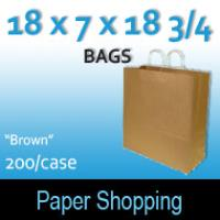Paper Shopping Bags-Brown (18 x 7 x 18 3/4)