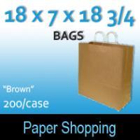 Paper Shopping Bags-Brown (18 x 7 x 18 3/4)