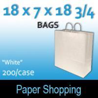 Paper Shopping Bags-White (18 x 7 x 18 3/4)