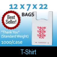"""T-Shirt Bags (12 x 7 x 22) """"Thank You"""" (Standard Weight)"""