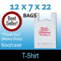 "T-Shirt Bags (12 x 7 x 22) ""Thank You"" (Heavy Duty)"
