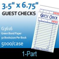 Guest Checks (G3616) 1 Part Single Paper-Green