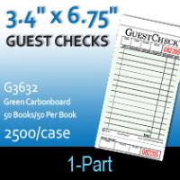 Guest Checks (G3632) 1 Part Single Cardboard-Green