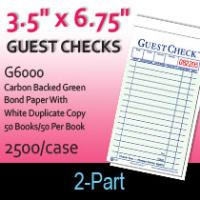Guest Checks (G6000) 2 Part Carbon Backed-Green