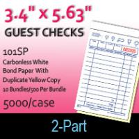 Guest Checks (101SP) 2 Part Carbonless-White/Yellow