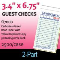 Guest Checks (G7000) 2 Part Carbonless-Green/Yellow
