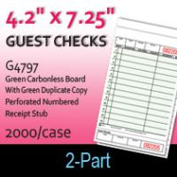 Guest Checks (G4797) 2 Part Carbonless Board-Green