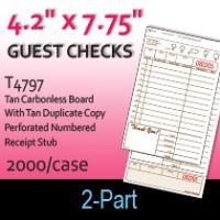 Guest Checks (T4797) 2 Part Carbonless Board-Tan