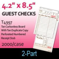 Guest Checks (T4997) 2 Part Carbonless Board-Tan
