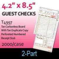 Guest Checks (T4997) 2 Part Carbonless Board-Tan
