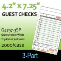 Guest Checks (G4797-3SP) 3 Part Carbonless-G/Y/W
