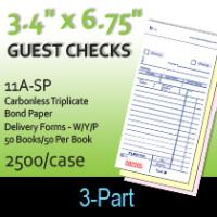 Guest Checks (11A-SP) 3 Part  Delivery Forms-W/Y/P