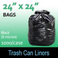 "Trash Bags-Black 24"" x 24"" (6 micron) 1000 Per Case"