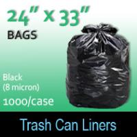 "Trash Bags-Black 24"" x 33"" (8 micron) 1000 Per Case"