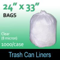 "Trash Bags-Clear 24"" x 33"" (8 micron) 1000 Per Case"