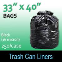 "Trash Bags-Black 33"" x 40"" (16 micron) 250 Per Case"