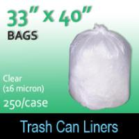 "Trash Bags-Clear 33"" x 40"" (16 micron) 250 Per Case"