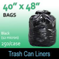 "Trash Bags-Black 40"" x 48"" (12micron) 250 Per Case"
